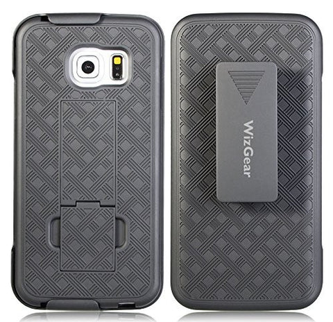 WizGear Shell Holster Combo Case for Samsung Galaxy S6 Edge with Kick-stand & Belt Clip - Fits At&t, Verizon, T-Mobile & Sprint - Black