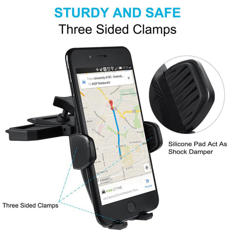 WizGear Universal Car Phone Mount, CD Slot Car Mount Holder with NEW Gravity Self-locking Design Mount, Compatible With All Smartphones (NEW Gravity Self-Locking Mount)