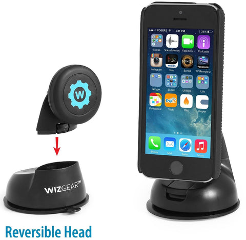 Car Mount, WizGear Universal Magnetic Car Mount Holder, Windshield Mount and Dashboard Mount Holder for Cell Phones with Fast Swift-snap™ Technology, Magnetic Cell Phone Mount (No Adhesive Disk Needed)