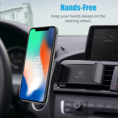 WixGear Car Phone Mount Air Vent Cell Phone Holder for Car, Air Vent Phone Holder for Car with Double Prongs Base Compatible with iPhone Xs/XS Max / 8/7 / 6, Google Pixel 3 XL, Samsung Galaxy and more