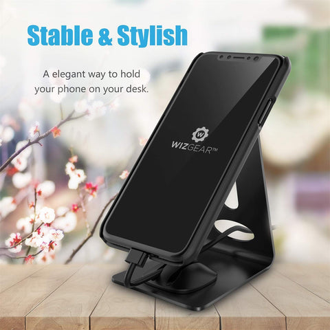 Cell Magnetic Phone Stand, WizGear Premium Phone Holder for iPhones, Android Smartphones & Mini Tablets –Sturdy Metal Phone Stand for Desk with Smart Cord Holder, Magnetic Cell Phone Mount