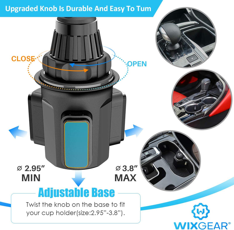 Cup Tablet Holder for Car, WixGear Car Cup Holder Tablet and Phone Adjustable