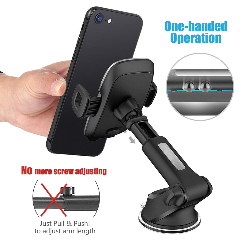 WizGear Dashboard Telescopic Arm with Air Vent Swift-Grip Phone Holder for Car, Cell Phone Car Mount Air Vent Holder for Any Smartphone