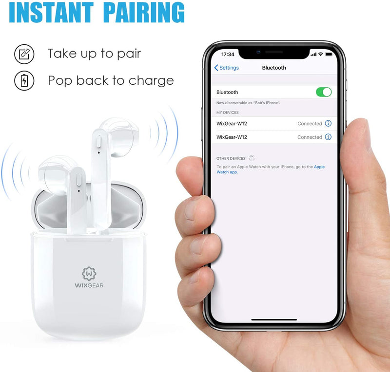 Wireless Earbuds, WixGear Bluetooth 5.0 Wireless Earbuds with Charging Case, HD Stereo Sound Earphones, 30H Playtime with Charging Case, IPX5 Waterproof with Built-in Microphone for Work/Travel/Gym