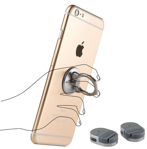 WizGear Universal Ring Holder Grip with Stand Holder for Any Smartphones and Device with 2 Base Mounts