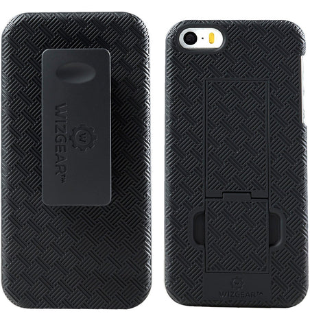 WizGear Shell Holster Combo Case for Apple iPhone SE / 5 / 5S with Kick-Stand and Belt Clip - (Fits At&t, Verizon, T-Mobile & Sprint)