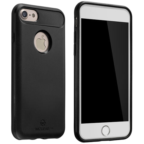 WizGear Carbon Fiber Sturdy Case for iPhone 7 with Built-in Metal Plate for Magnetic Car Mounts, Lightweight Anti-Scratch Protection
