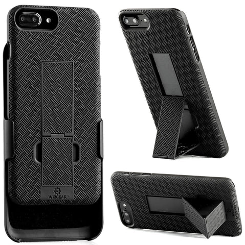 WizGear Shell Holster Combo Case for Apple iPhone 7/8 PLUS With Kick-Stand and Belt Clip - Black