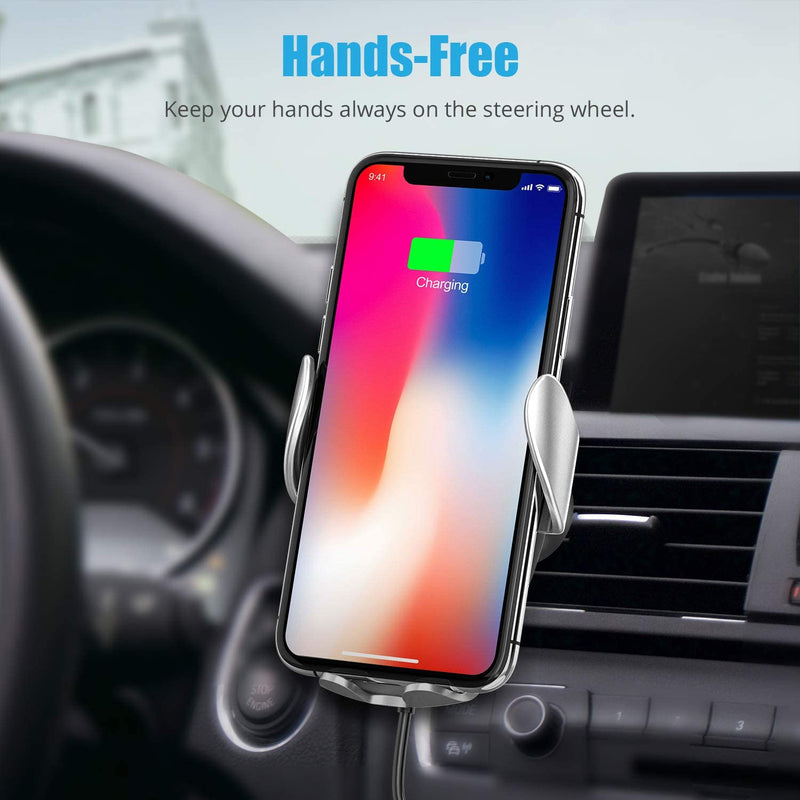 Wireless Car Charger, WixGear Auto-Clamping Fast Wireless Car Charger, Air Vent Holder for Car, 15W Qi Fast Charging Compatible iPhone 11, Xs/MAX/XS/XR/X/8/, Samsung S10/S9/S8 Full Automatic Arms