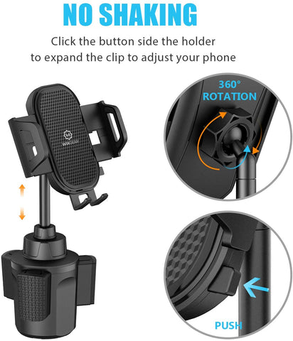 Cup Phone Holder for Car, WixGear Car Cup Holder Phone Mount Adjustable Automobile Cup Holder Smart Phone Cradle Car Cup Mount