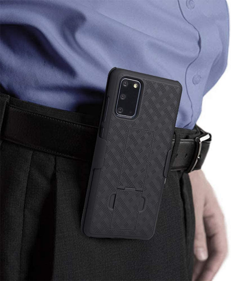 WixGear Samsung Galaxy S20 Holster, Shell Holster Combo Case for Samsung Galaxy S20 Holster with Kick-Stand and Belt Clip