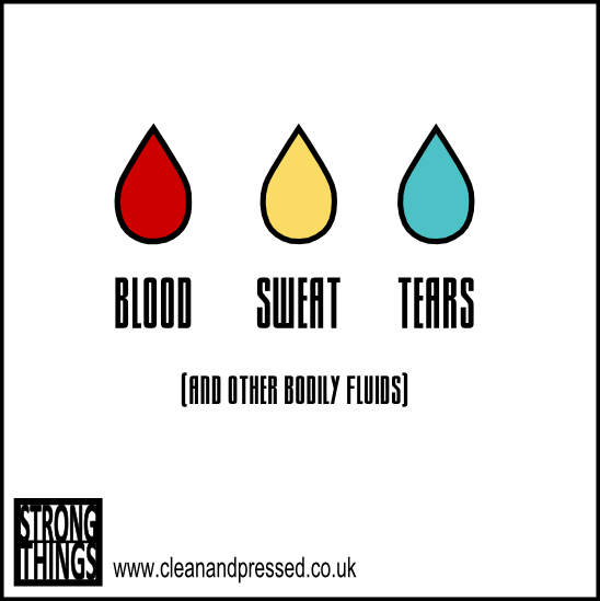Blood, sweat & tears funny birthday card