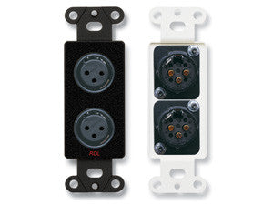 DB-XLR2F Dual XLR 3-pin Female Jacks on Decora® Wall Plate - Solder type