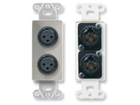 DS-XLR2F Dual XLR 3-pin Female Jacks on Decora® Wall Plate - Solder type - Stainless steel