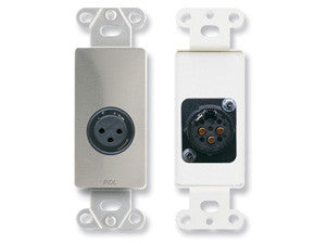 DS-XLR3F XLR 3-pin Female Jack on Decora® Wall Plate - Solder type - Stainless steel