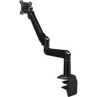 Dual link desktop arm with pole attachment base