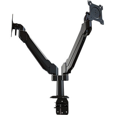 Dual monitor single link desktop arm system with flat-mounting base
