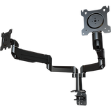 Dual link dual monitor desktop arm system with pole-mounting base