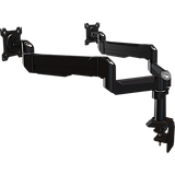 Dual link dual monitor desktop arm system with flat-mounting base