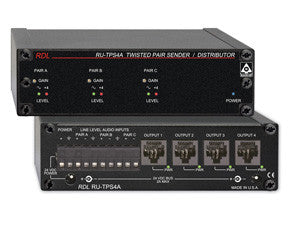 RU-TPS4A Active Sender / Distributor - Twisted Pair Format-A - Three audio inputs to Four outputs