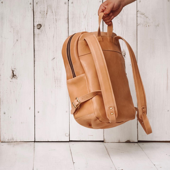Making a Leather Zip Top Backpack - Horween Natural Essex || DIY VIDEO