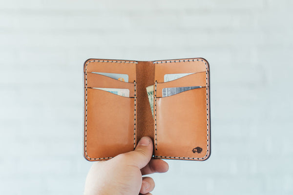 6 pocket vertical leather wallet