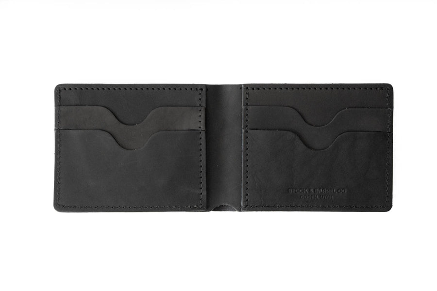 No.55 | 'Black Skirting' Men's Leather Bill Fold Wallet