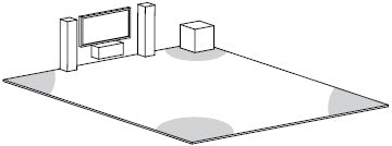 Subwoofer Illustration in the Corner of the Room