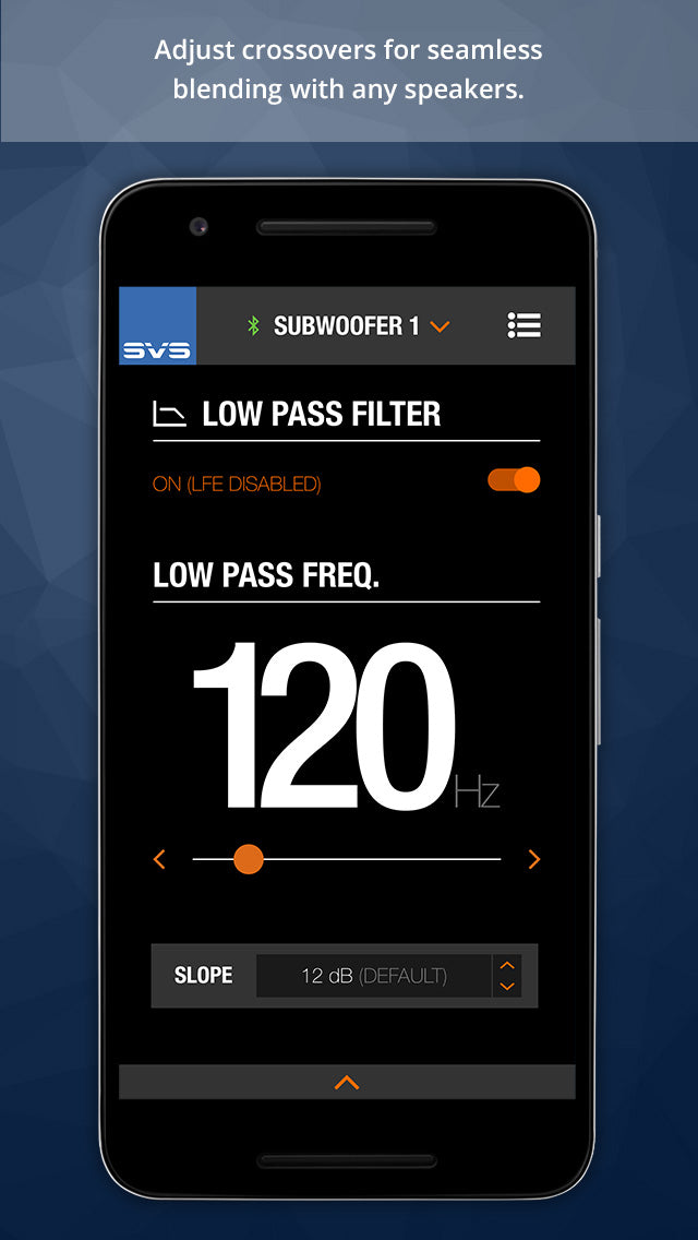 Mobile app screenshot of the low pass filter screen.