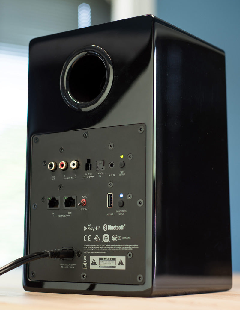 Rear shot of the Prime Wireless Speaker showing connections.
