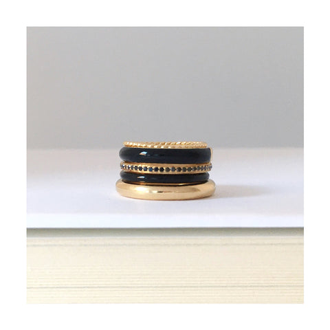 black enamel ring stack #pinkystack
