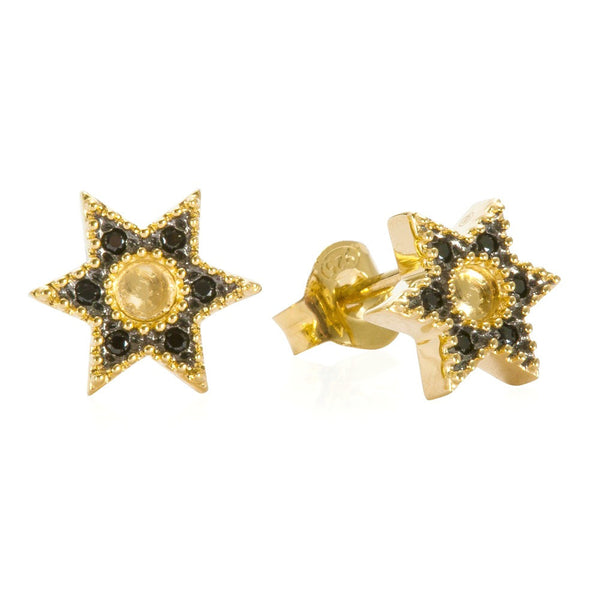 Gold Bella Star Stud with Black Spinel