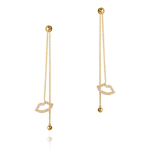 Haute Pout Gold and Diamond Long Drop Earrings