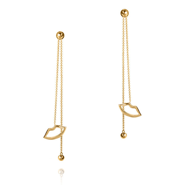 Haute Pout Gold Long Drop Earrings