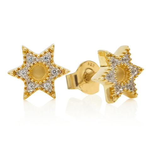Gold Bella Star Stud with White Topaz