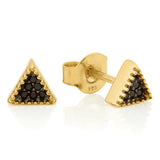 Gold Bella Tri Studs with Black Spinel