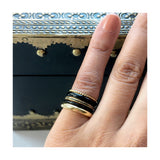 pinkystack gold ring eternity ring chunky ring twisted ring stackable ring black enamel ring