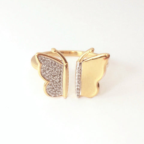 Butterfly Gold and Diamond Wing Ring
