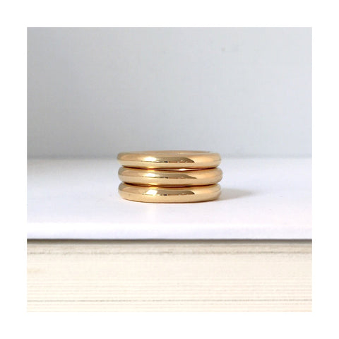 chunky gold ring stack gold pinkystack stackable pinky ring