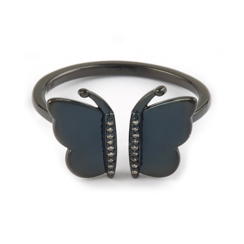 Butterfly Black Ruthenium and Diamond Ring