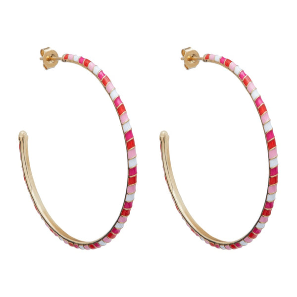 Large Enamel Twisted Hoop Earring