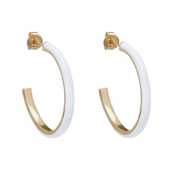Medium Enamel Hoop Earring