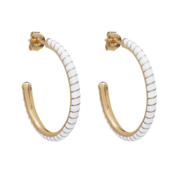 Medium Enamel Twisted Hoop Earring