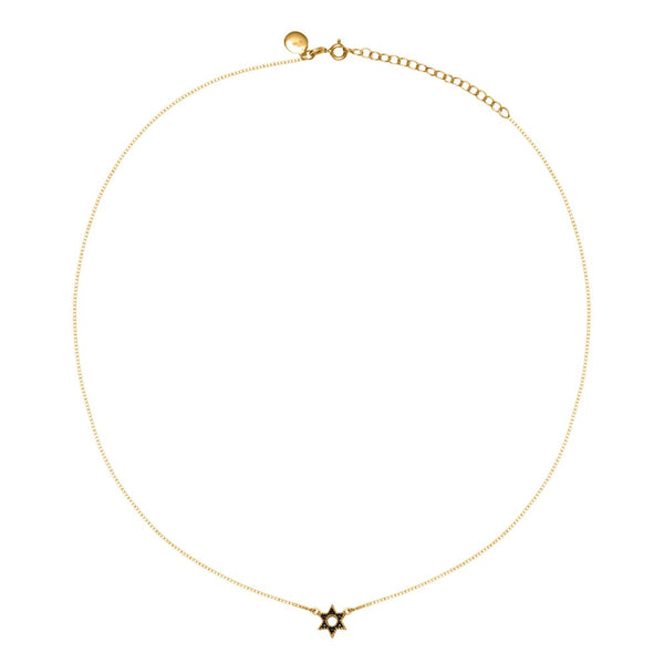 Gold Bella Star Necklace With Black Spinel