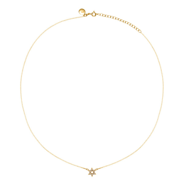 Gold Bella Star Necklace With White Topaz