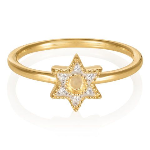 Gold Bella Star Ring with White Topaz