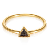 Gold Bella Tri Ring with Black Spinel