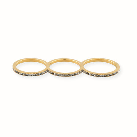 Triple Gold Vermeil Eternity Ring with Diamonds