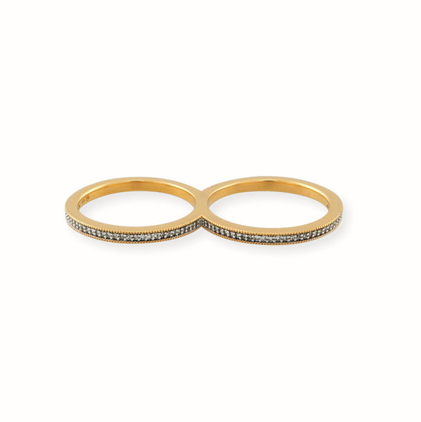Double Gold Vermeil Eternity Ring with Diamonds