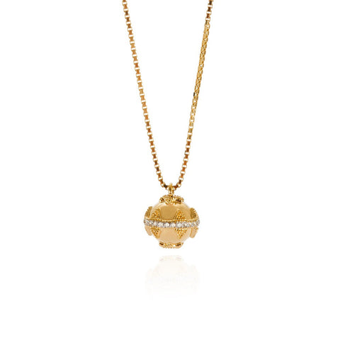 Gold Mini Bella Ball Necklace with White Topaz